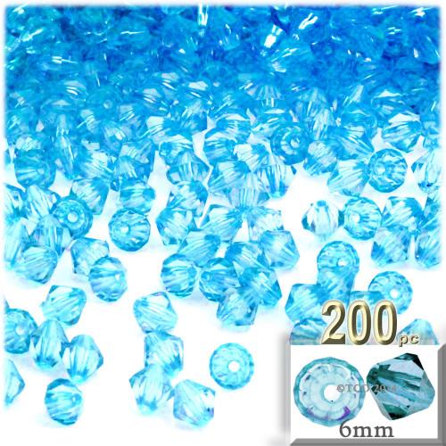 Plastic Bicone Beads, Transparent, 6mm, 200-pc, Light Aqua Blue