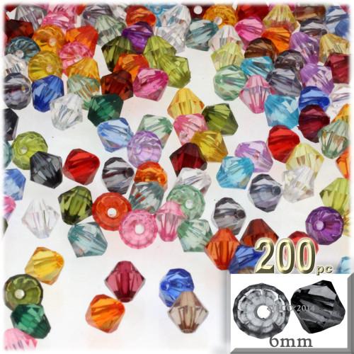 Plastic Bicone Beads, Transparent, 6mm, 200-pc, Multi