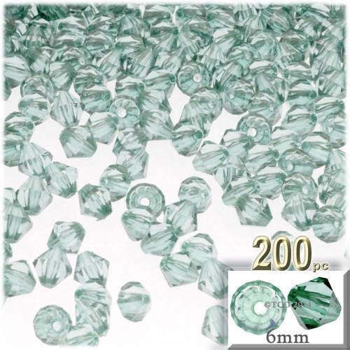 Plastic Bicone Beads, Transparent, 6mm, 200-pc, Light Sea mist