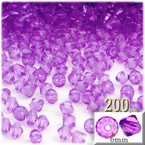 Plastic Bicone Beads, Transparent, 6mm, 200-pc, Lavender Purple