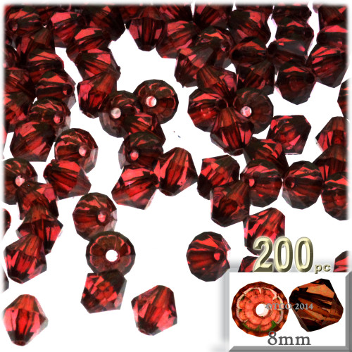 Plastic Bicone Beads, Transparent, 8mm, 200-pc, Beer brown