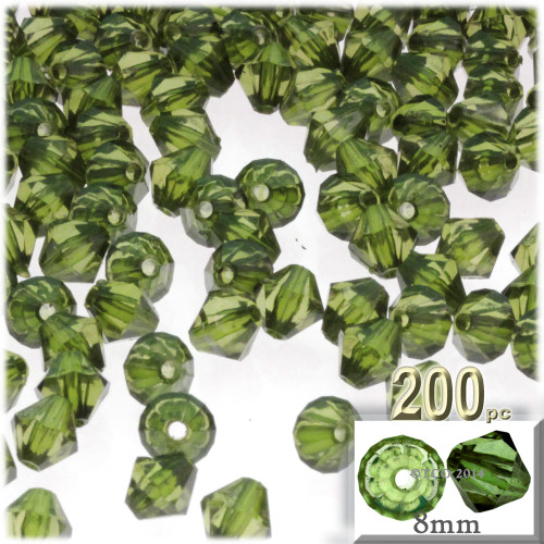 Plastic Bicone Beads, Transparent, 8mm, 200-pc, Olive Green