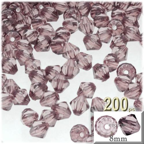 Plastic Bicone Beads, Transparent, 8mm, 200-pc, Light Burgundy