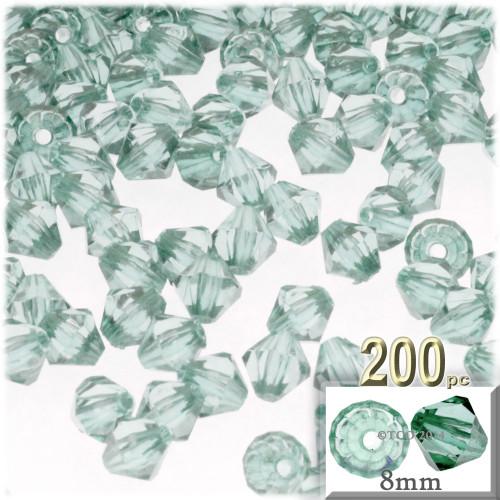 Plastic Bicone Beads, Transparent, 8mm, 200-pc, Light Sea mist