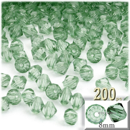 Plastic Bicone Beads, Transparent, 8mm, 200-pc, Light Green