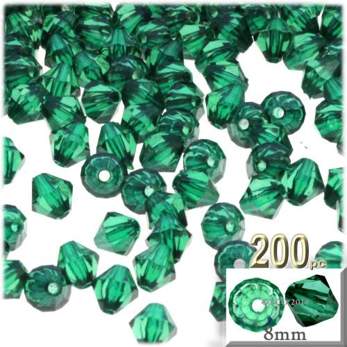 Plastic Bicone Beads, Transparent, 8mm, 200-pc, Emerald Green