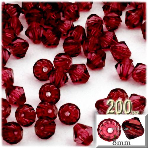 Plastic Bicone Beads, Transparent, 8mm, 200-pc, Devil red Wine