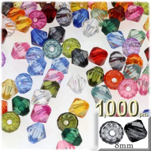 Plastic Bicone Beads, Transparent, 8mm, 1,000-pc, Multi