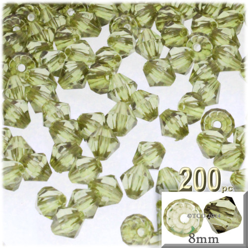 Plastic Bicone Beads, Transparent, 8mm, 200-pc, Light Olive Green