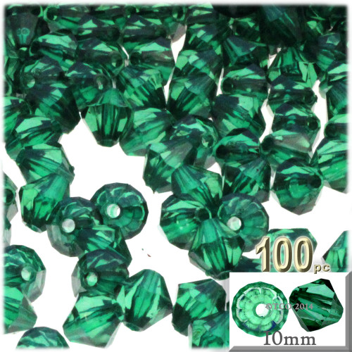 Bicone Beads, Transparent, Faceted, 10mm, 100-pc, Emerald Green