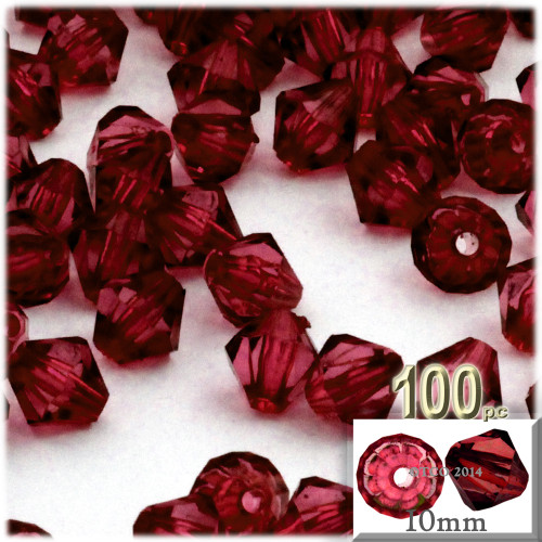 Bicone Beads, Transparent, Faceted, 10mm, 100-pc, Devil red Wine