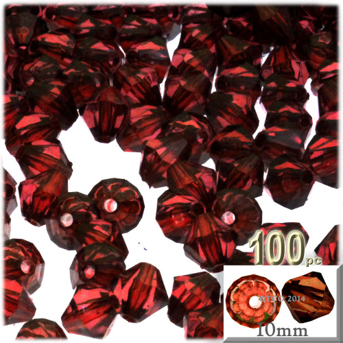 Bicone Beads, Transparent, Faceted, 10mm, 100-pc, Beer brown