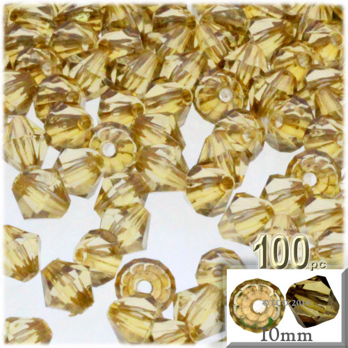 Bicone Beads, Transparent, Faceted, 10mm, 100-pc, Champagne