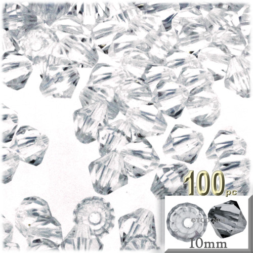 Bicone Beads, Transparent, Faceted, 10mm, 100-pc, Clear