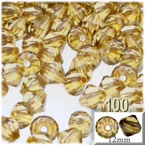 Plastic Bicone Beads, Transparent, 12mm, 100-pc, Champagne