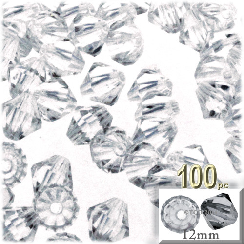 Plastic Bicone Beads, Transparent, 12mm, 100-pc, Clear