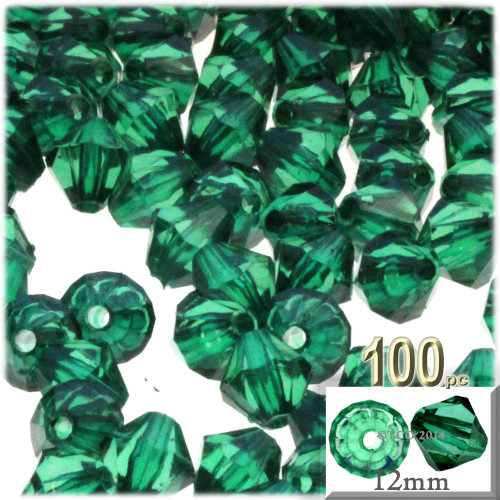 Plastic Bicone Beads, Transparent, 12mm, 100-pc, Emerald Green