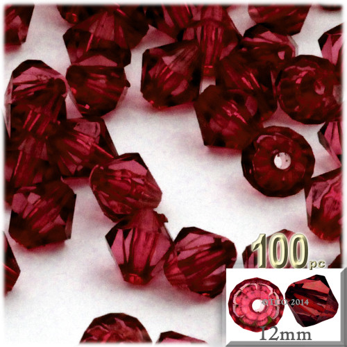 Plastic Bicone Beads, Transparent, 12mm, 100-pc, Devil red Wine