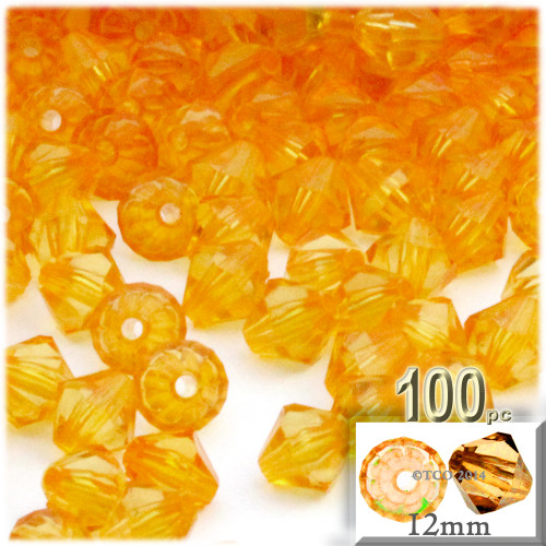 Plastic Bicone Beads, Transparent, 12mm, 100-pc, Sun Yellow