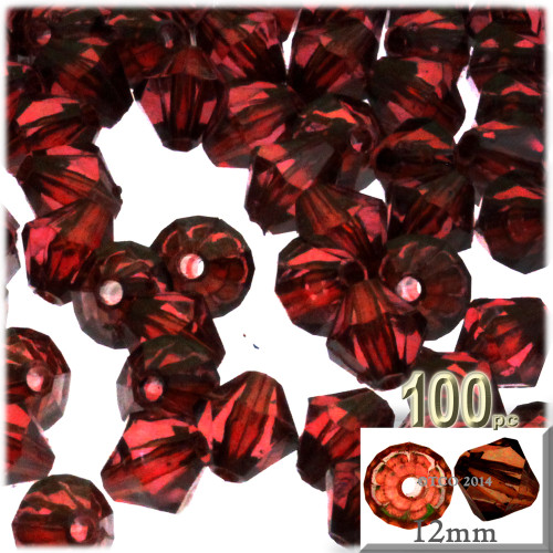 Plastic Bicone Beads, Transparent, 12mm, 100-pc, Beer brown