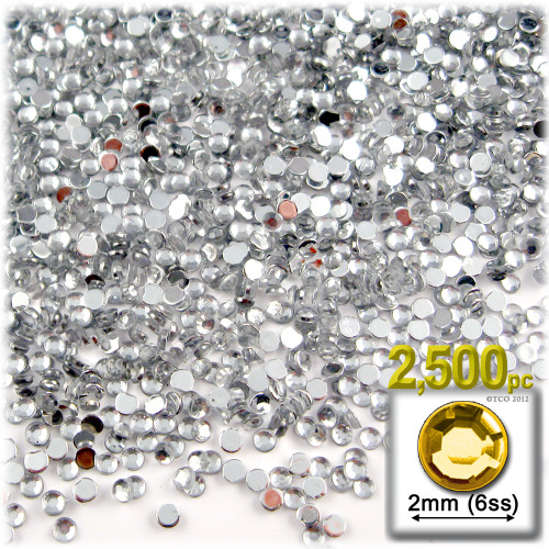 Rhinestones, Flatback, Round, 2mm, 2,500-pc, Clear