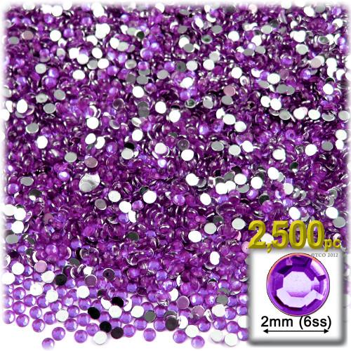 Rhinestones, Flatback, Round, 2mm, 2,500-pc, Purple (Amethyst)