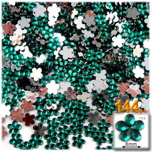 Rhinestones, Flatback, Flower, 6mm, 144-pc, Emerald Green