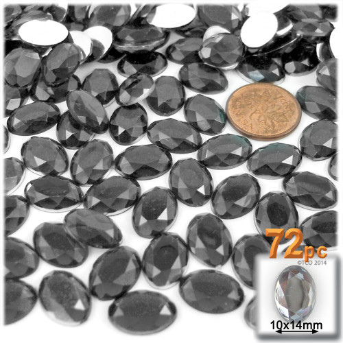 Rhinestones, Flatback, Oval, 10x14mm, 72-pc, Charcoal Gray