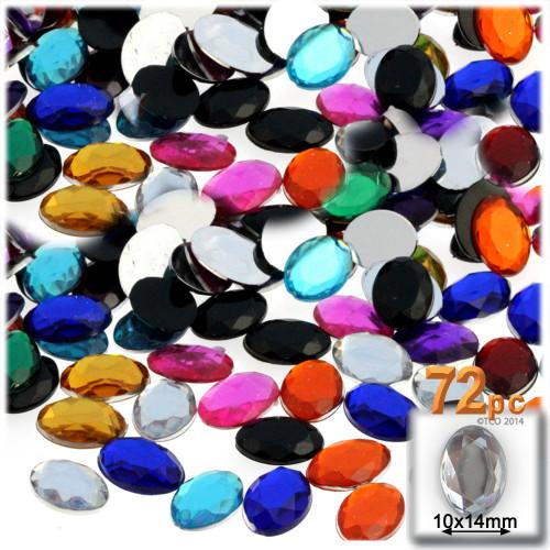 Rhinestones, Flatback, Oval, 10x14mm, 72-pc, Jewel Tone Assortment