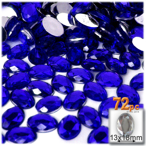 Rhinestones, Flatback, Oval, 13x18mm, 72-pc, Royal Blue