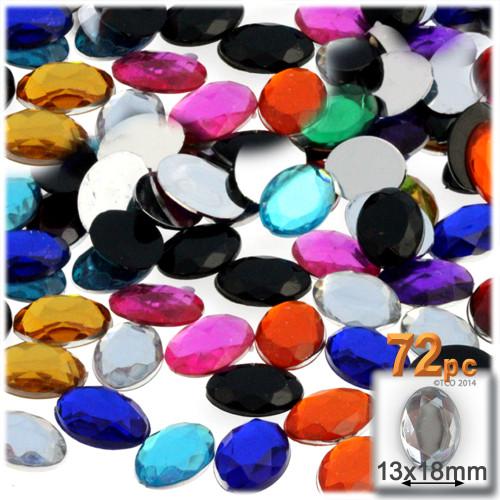 Rhinestones, Flatback, Oval, 13x18mm, 72-pc, Jewel Tone Assortment