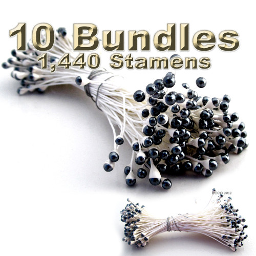 Pearl Stamen, Two Tone, Vintage, 3mm, 1,440-pc, White Stem, White head with Black tip