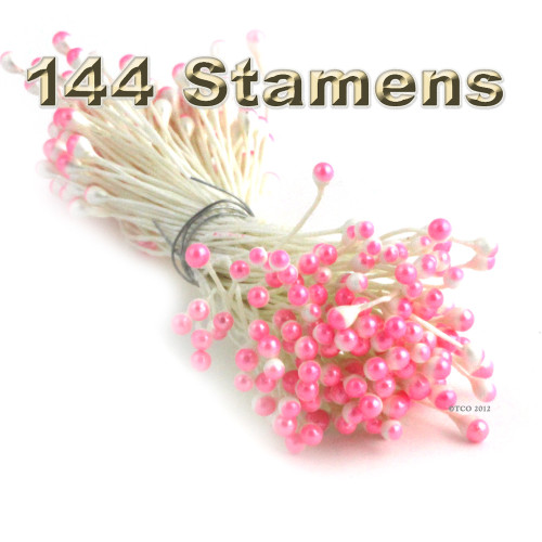 Pearl Stamen, Two Tone, Vintage, 3mm, 144-pc, White Stem, White head with Light Pink tip