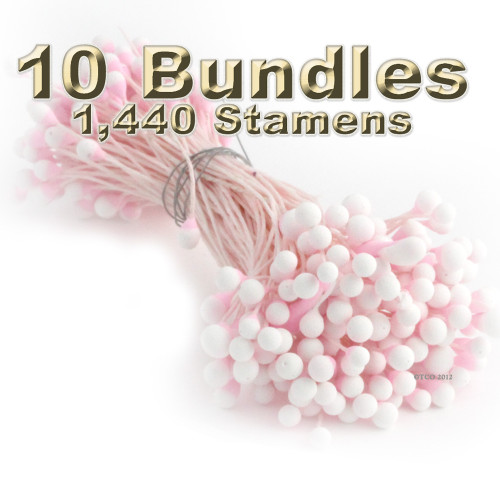 Pearl Stamen, Two Tone, Vintage, 3mm, 1,440-pc, Light Pink with White tip