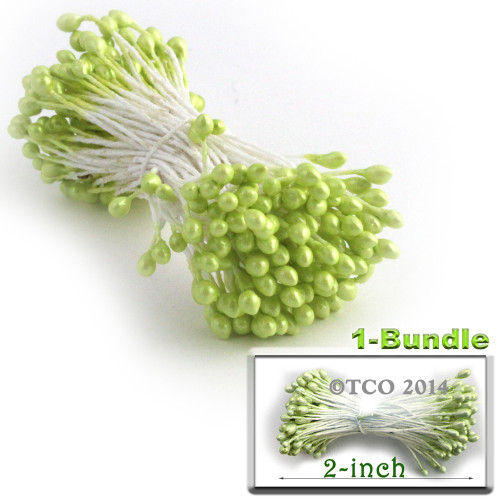 Pearl Stamen, 2-in, 3mm, 144-pc, Lemon Lime Green
