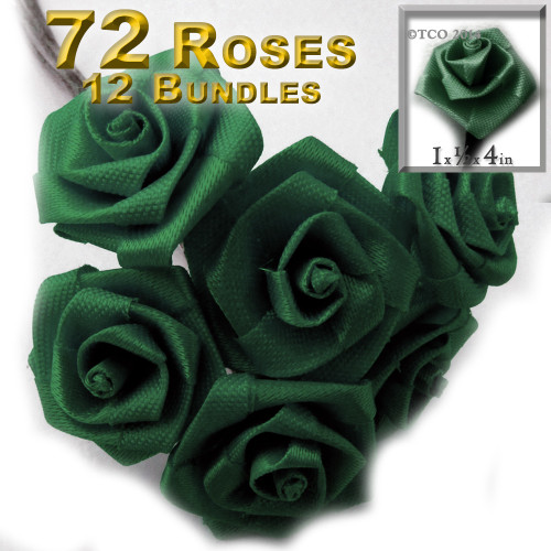 Artificial Flowers, Ribbon Roses, 1.0-inch, Emerald Green