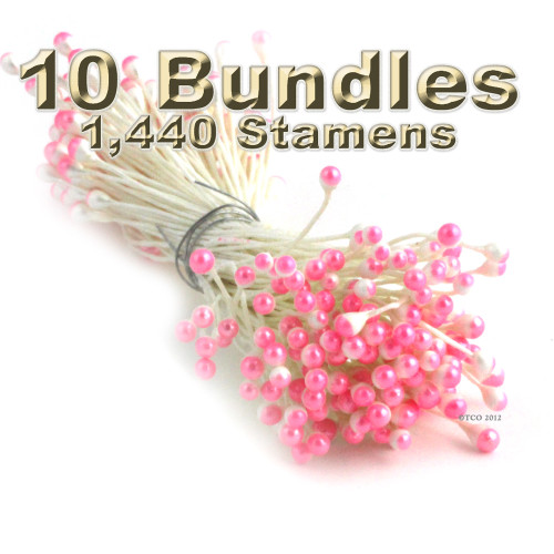Pearl Stamen, Two Tone, Vintage, 3mm, 1,440-pc, White Stem, White head with Light Pink tip