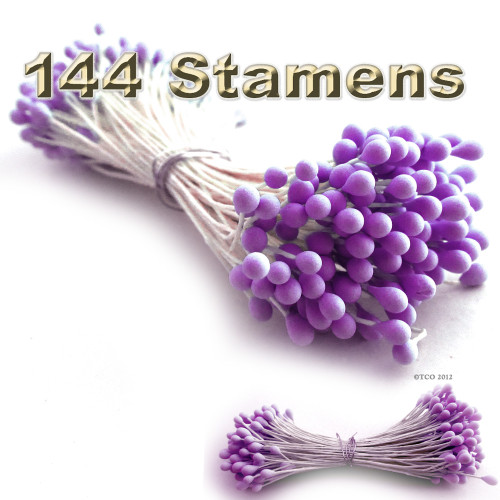 Pearl Stamen, Two Tone, Vintage, 3mm, 144-pc, Matt Purple head