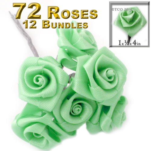 Artificial Flowers, Ribbon Roses, 1.0-inch, 12 Bundles, Pistachio Green