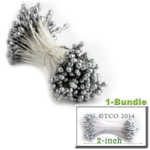 Pearl Stamen, 2-in, 3mm, 144-pc, Metallic Silver