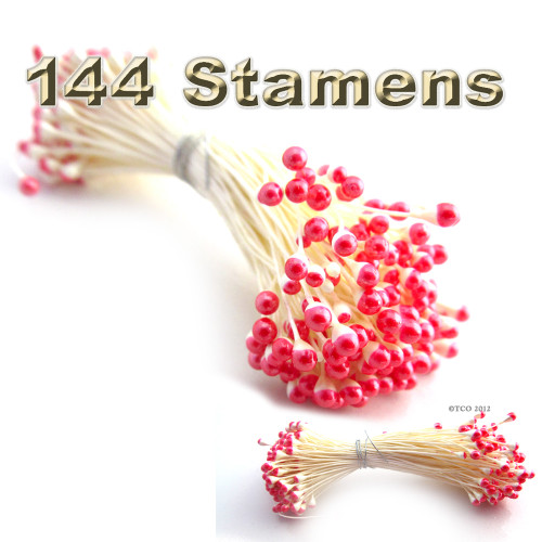 Pearl Stamen, Two Tone, Vintage, 3mm, 144-pc, White Stem, White head with Red tip