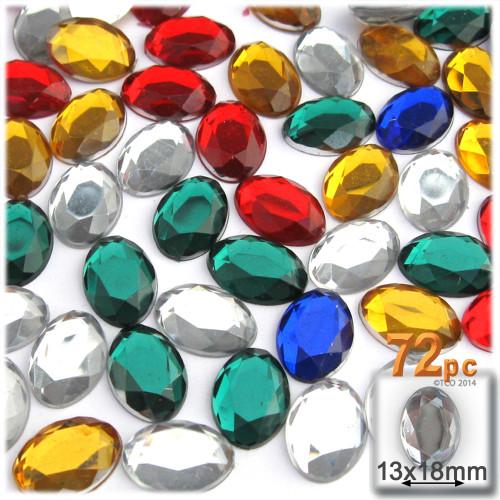 Rhinestones, Flatback, Oval, 13x18mm, 72-pc, Mixed Colors