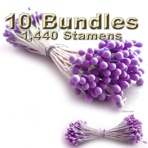 Pearl Stamen, Two Tone, Vintage, 3mm, 1440-pc, Matt Purple head