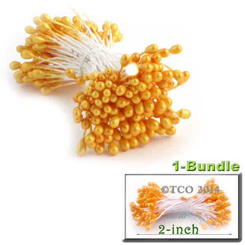 Pearl Stamen, 2-in, 3mm, 144-pc, Light Orange