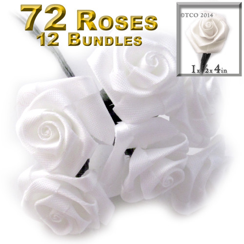 Artificial Flowers, Ribbon Roses, 1.0-inch, 12 Bundles, White