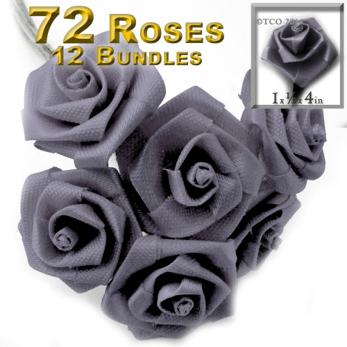 Artificial Flowers, Ribbon Roses, 1.0-inch, Gray