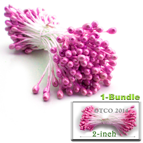 Pearl Stamen, 2-in, 3mm, 144-pc, Hot Pink