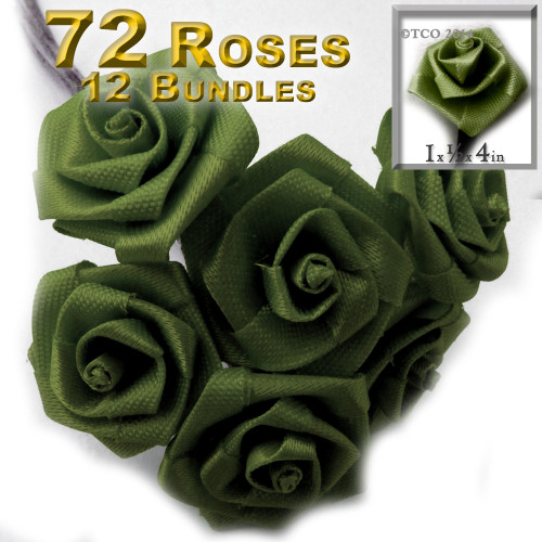 Artificial Flowers, Ribbon Roses, 1.0-inch, Olive Green