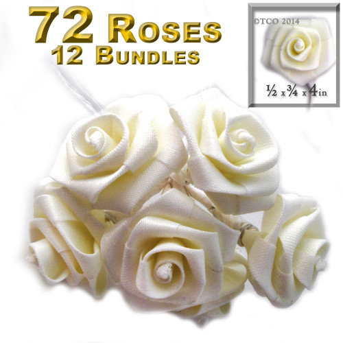 Artificial Flowers, Ribbon Roses, 1.0-inch, Cream