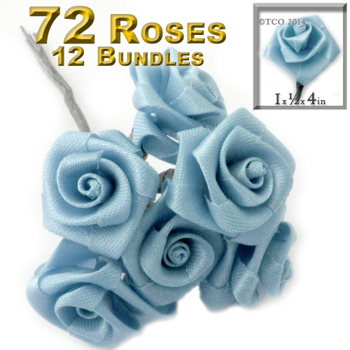 Artificial Flowers, Ribbon Roses, 1.0-inch, Light Blue